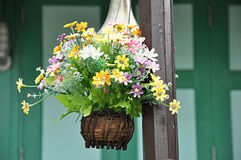 Flowers in hanging basket Stock Photo