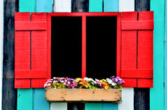 Flowers hanging on red window Royalty Free Stock Image
