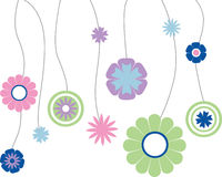 Flowers hanging on string. On a white background Vector Illustration