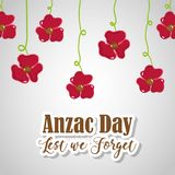 Flowers hanging to anzac holiday memorial. Vector illustration Stock Images