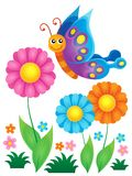 Flowers and happy butterfly theme 1 Royalty Free Stock Photography