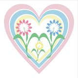 Flowers and heart. Three flowers and three heart on white background Stock Image