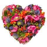 Flowers heart floral collage concept Royalty Free Stock Image