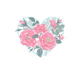 Flowers and heart. Illustration of St. Valentine's Day Royalty Free Stock Image