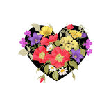 Flowers and heart. Illustration of St. Valentine's Day Royalty Free Stock Photos