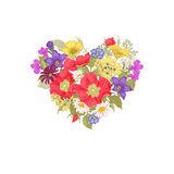 Flowers and heart. Illustration of St. Valentine's Day Royalty Free Stock Images