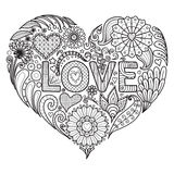 Flowers in heart shape for coloring books for adult or valentines card