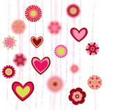 Flowers and heart shapes background Royalty Free Stock Photos