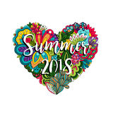 Flowers and heart summer 2018 illutration. Summer 2018 vector illutration with flowers and heart Royalty Free Stock Image