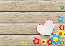 Flowers Heart Wooden Background Stock Photos