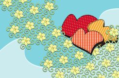 Flowers and hearts Royalty Free Stock Photo