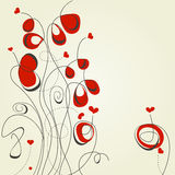 Flowers and hearts. Abstract flowers and hearts, romantic background Royalty Free Stock Photos