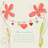 Flowers and hearts Royalty Free Stock Photography