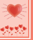 Flowers hearts. Romantic love card with flowers of hearts Stock Images