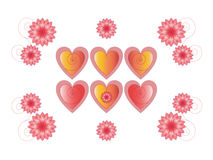 Flowers and hearts Royalty Free Stock Images