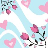 Flowers and hearts. Decorative design with pink flowers and hearts royalty free illustration