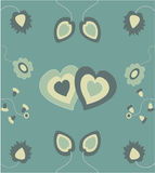 Flowers and hearts Royalty Free Stock Image
