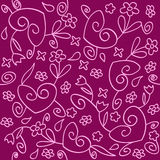 Flowers hearts background. Seamless background of pink and purple ornament Royalty Free Stock Image