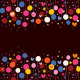 Flowers and hearts background Stock Image