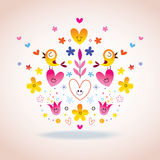 Flowers, hearts & birds Royalty Free Stock Images