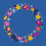 Flowers, hearts, birds love nature circle frame background Stock Photo