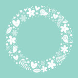 Flowers, hearts, birds love nature circle frame background Royalty Free Stock Photo