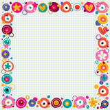 Flowers & hearts border Stock Photo