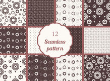 Flowers, hearts, circles. Set of seamless patterns in chocolate tones. Stock Photo