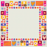 Flowers & hearts decorative border. On note book paper Royalty Free Stock Image