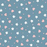 Flowers, hearts and dots. Cute floral seamless pattern. Royalty Free Stock Image