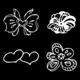 Flowers and hearts hand drawn doodle collection isolated on black background. 4 floral graphic elements. Big vector set. Outline. Collection stock illustration