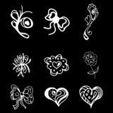 Flowers and hearts hand drawn doodle collection isolated on black background. 6 floral graphic elements. Big vector set. Outline. Collection stock illustration
