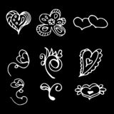 Flowers and hearts hand drawn doodle collection isolated on black background. 6 floral graphic elements. Big vector set. Outline. Collection royalty free illustration