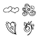 Flowers and hearts hand drawn doodle collection isolated on white background. 4 floral graphic elements. Big vector set. Outline. Collection vector illustration