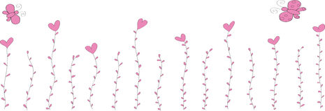 Flowers are hearts with leaves and two butterflies. Flowers are hearts of pink color with leaves and two little butterflies Royalty Free Stock Photos