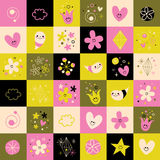 Flowers hearts little smiling characters symbols design elements Royalty Free Stock Images