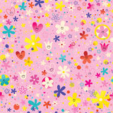 Flowers and hearts nature love seamless pattern Stock Photo