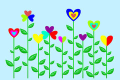Flowers with hearts Royalty Free Stock Photo