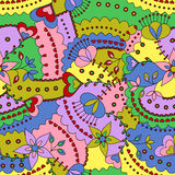 Flowers and hearts pattern colorful Stock Images