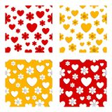 Flowers and hearts patterns Stock Photography