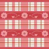 Flowers Hearts And Plaid. Flower, hearts and plaid design in red, pink, white and brown stock illustration