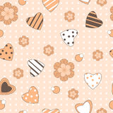 Flowers and hearts print Royalty Free Stock Image