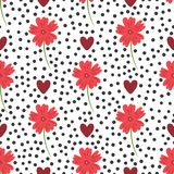 Flowers, hearts and round dots. Floral seamless pattern. Stock Photography