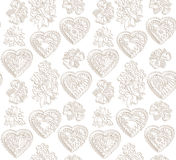 Flowers and hearts seamless background. Flourish Japanese texture. Royalty Free Stock Images