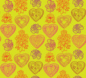 Flowers and hearts seamless background. Flourish Japanese texture. Stock Photo