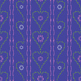 Flowers hearts seamless pattern Royalty Free Stock Photography