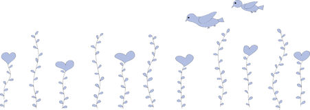 Flowers are hearts and two birds Stock Image