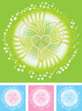 Flowers hearts vector. Flowers hearts background / vector Royalty Free Stock Images