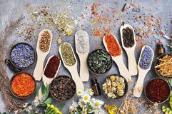 Flowers and herbs for alternative medicine, healthcare background royalty free stock images