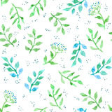 Flowers, herbs, meadow grass. Cute ditsy seamless pattern. Vintage watercolour Royalty Free Stock Image